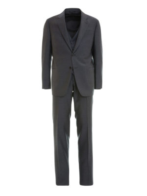 Armani Collezioni: formal suits - Wool jacquard three-piece suit