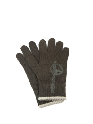 Armani Collezioni: gloves - Logo print knitted wool gloves