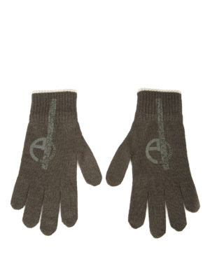 Armani Collezioni: gloves online - Logo print knitted wool gloves