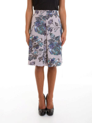 Armani Collezioni: Knee length skirts & Midi online - Roses print lined silk skirt