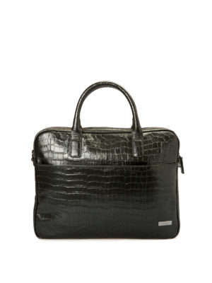 Armani Collezioni: laptop bags & briefcases - Croco print black leather briefcase