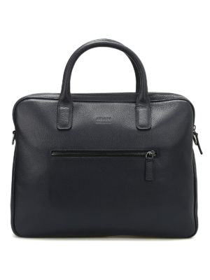 Armani Collezioni: laptop bags & briefcases - Hammered leather laptop bag