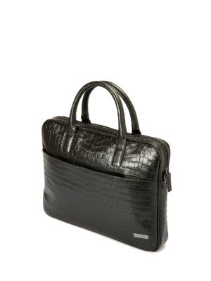 Armani Collezioni: laptop bags & briefcases online - Croco print black leather briefcase
