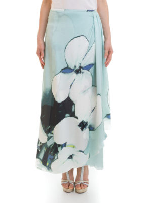 Armani Collezioni: Long skirts online - Floral silk draped skirt