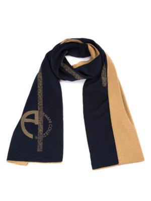 Armani Collezioni: scarves - Logo print wool blend scarf