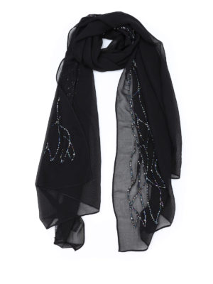 Armani Collezioni: scarves - Multicolour bead embroidered scarf