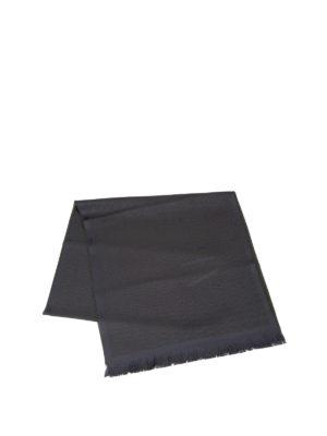 Armani Collezioni: scarves online - Logo herringbone wool scarf