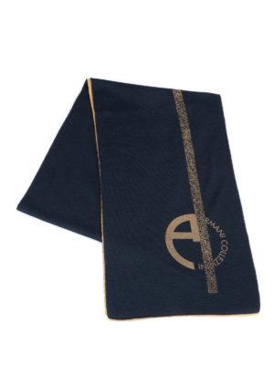 Armani Collezioni: scarves online - Logo print wool blend scarf