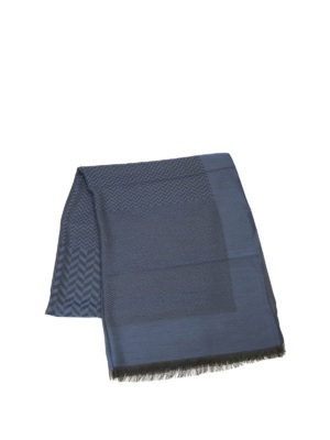 Armani Collezioni: scarves online - Patterned modal blend blue scarf