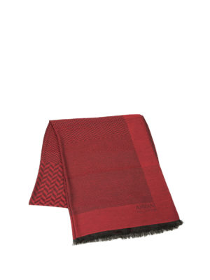 Armani Collezioni: scarves online - Patterned modal blend red scarf