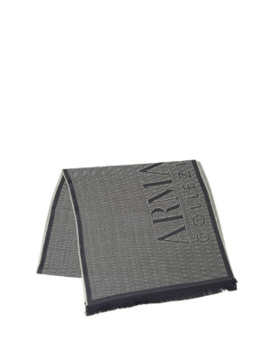 Armani Collezioni: scarves online - Two-tone herringbone wool scarf