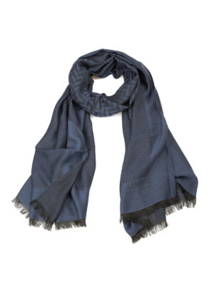 Armani Collezioni: scarves - Patterned modal blend blue scarf