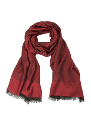 Armani Collezioni: scarves - Patterned modal blend red scarf