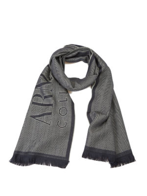 Armani Collezioni: scarves - Two-tone herringbone wool scarf