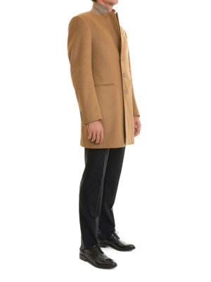 Armani Collezioni: short coats online - T Line wool and cashmere short coat