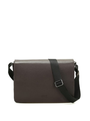 Armani Collezioni: shoulder bags - Hammered leather messenger bag