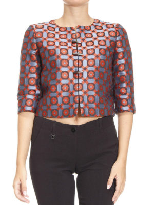 Armani Collezioni: Tailored & Dinner online - Patterned jacquard crop jacket