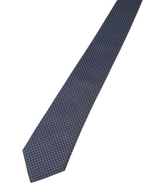 Armani Collezioni: ties & bow ties online - Micro patterned blue silk tie