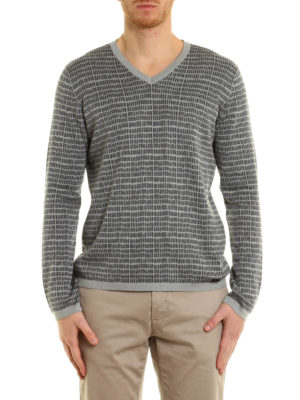 Armani Collezioni: v necks online - Silk and cotton blend sweater
