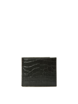 Armani Collezioni: wallets & purses - Croco print leather bifold wallet