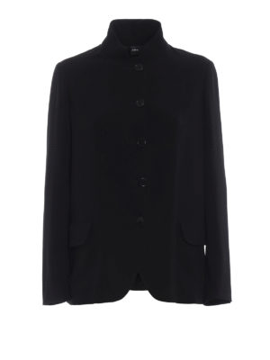 ASPESI: giacche blazer - Blazer nero in leggera crepe