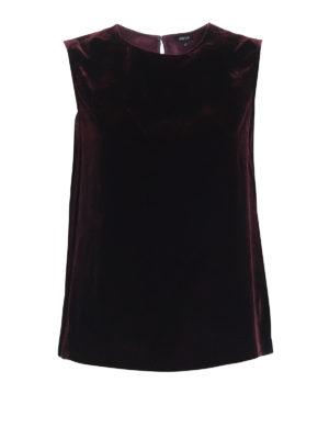 ASPESI: bluse - Blusa bordeaux in velluto senza maniche