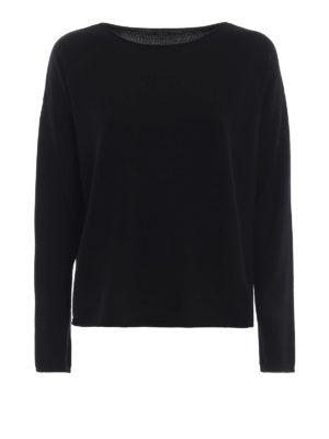 ASPESI: maglia collo a barchetta - Pull nero a barchetta in lana