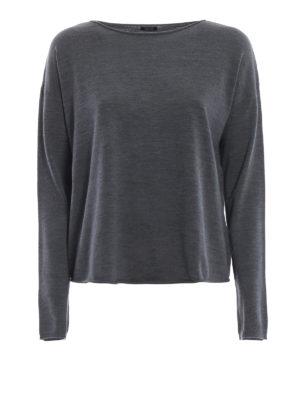 ASPESI: maglia collo a barchetta - Pull grigio a barchetta in lana