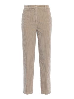 ASPESI: pantaloni casual - Pantaloni tre quarti in velluto beige a coste