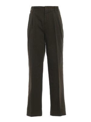 ASPESI: pantaloni casual - Pantaloni casual in cotone verde con pinces