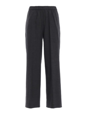 ASPESI: pantaloni casual - Pantaloni crop a vita alta in lana grigia