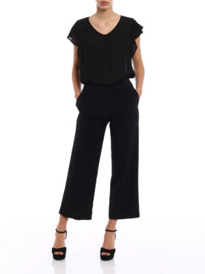 Aspesi: casual trousers online - Black silk palazzo trousers