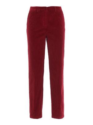 ASPESI: pantaloni casual - Pantaloni tre quarti in velluto rosso a coste