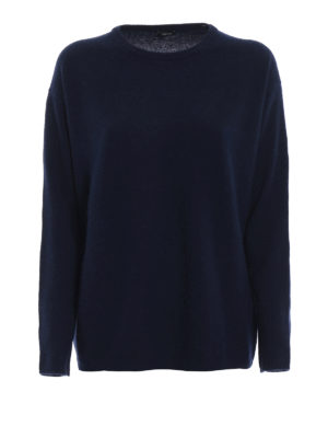 ASPESI: maglia collo rotondo - Pull in lana e angora color blu notte