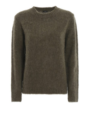 ASPESI: crew necks - Moss green brushed Shetland wool sweater