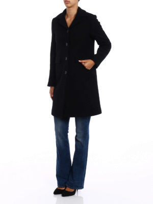 Aspesi: knee length coats online - Single-breasted wool coat