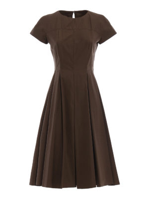 Aspesi: knee length dresses - Cotton dress with pleated skirt