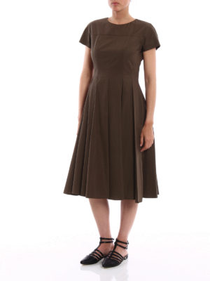Aspesi: knee length dresses online - Cotton dress with pleated skirt