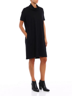 Aspesi: knee length dresses online - Wool jersey cowl neck dress