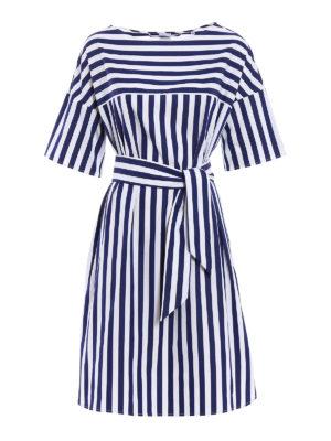 Aspesi: knee length dresses - Pure cotton striped dress