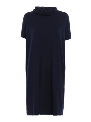 Aspesi: knee length dresses - Wool jersey cowl neck dress