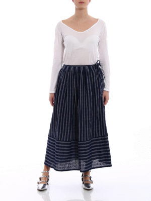Aspesi: Knee length skirts & Midi online - Striped cotton A-line skirt