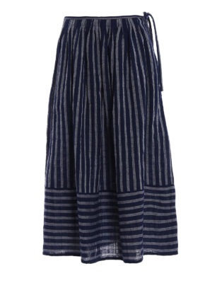 Aspesi: Knee length skirts & Midi - Striped cotton A-line skirt