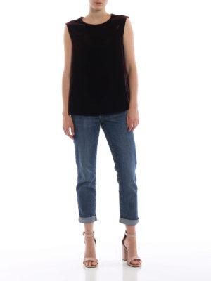 ASPESI: bluse online - Blusa bordeaux in velluto senza maniche