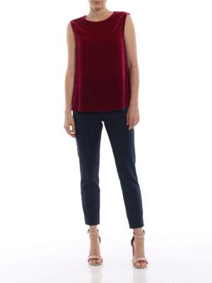 ASPESI: bluse online - Blusa fucsia in velluto liscio senza maniche