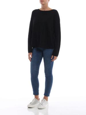 ASPESI: maglia collo a barchetta online - Pull nero a barchetta in lana
