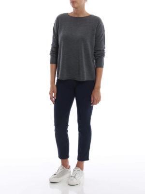 ASPESI: maglia collo a barchetta online - Pull grigio a barchetta in lana