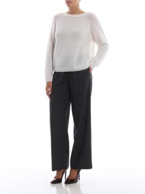 ASPESI: pantaloni casual online - Pantaloni crop a vita alta in lana grigia