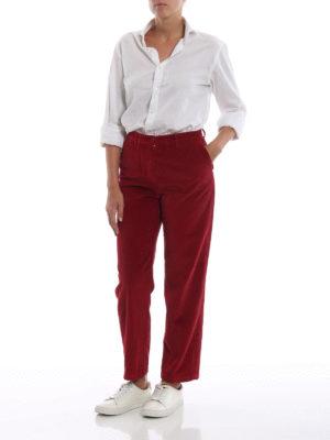 ASPESI: pantaloni casual online - Pantaloni tre quarti in velluto rosso a coste