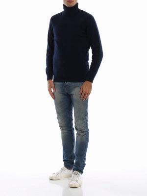 ASPESI: maglia a collo alto e polo online - Dolcevita blu in misto yack e cashmere